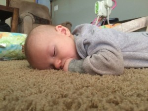 My little Squeaker fell asleep during tummy time.